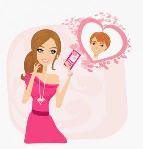 Verliebte Frau denkt an ihren Partner (Illustration)