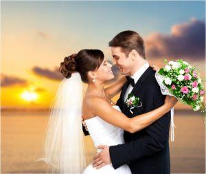 Traumpaar-Hochzeit mit Sonnenuntergang