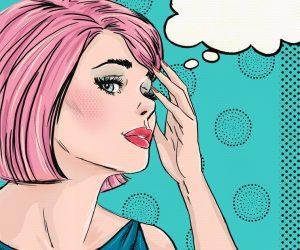 Nachdenkende Frau (Comic Art)