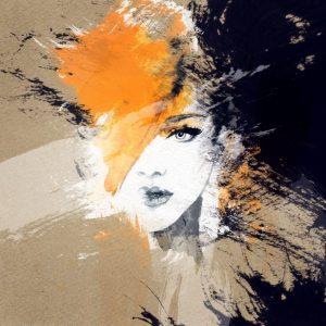 Illustratione einer fragmentierten, zweifelnden Frau