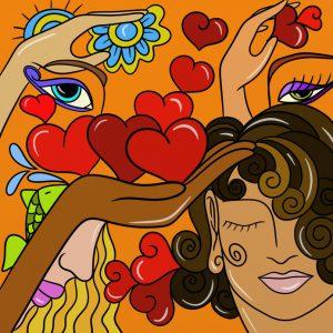 Abstrakte Illustration von Herzen und Gesichtern